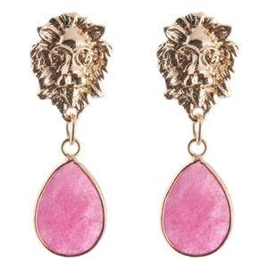 Pink + Gold Lion Drop Earrings